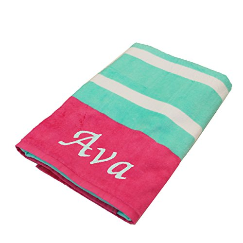 Personalized Beach Towels, Monogrammed Gifts for Kids, Her, Him, Custom Embroidered Towel (Teal with ()