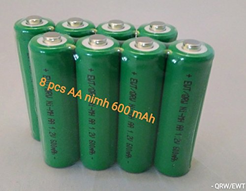 8 PCS Button Top AA NiMh 600 mAh 1.2 V Rechargeable Batteries for Solar, etc (Batteries Aa Mah Nicd)