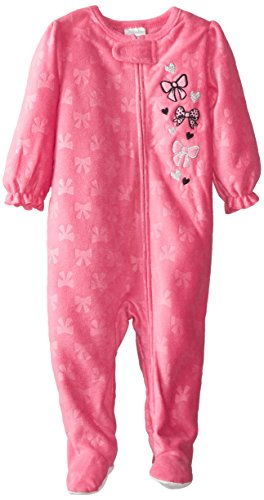 ABSORBA Baby Girls' Bow Blanket Sleeper, Pink, 18 Months