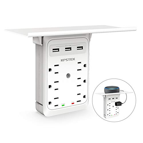 Socket Outlet Shelf, KPSTEK 6 Outlet Extender Multi Plug Wall Adapter with 3 USB Ports & Easy-to-Install Shelf, 1080J Surge Protection for Echo/Google Home/Cell Phone/Electric Toothbrush and More