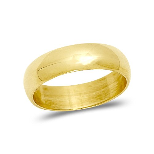 LOVEBLING 10K Yellow Gold Classic Fit Lightweight Solid Wedding Band Ring 5mm (7)
