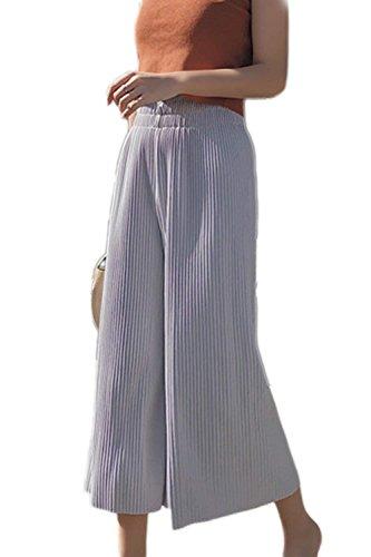 Taille Fille Ete Pantalon Femme Pantalon Pantalon Palazzo Pantalons Gris Pantalon Vtements Jupe Haute Mode Large Bouffant Elgante Loisir x1IYfq