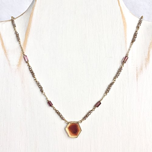 (Watermelon Tourmaline Necklace, Yellow Brown Tourmaline Slice Necklace with Champagne Zircon - 14K Solid Gold )