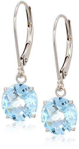 (10k White Gold Round Checkerboard Cut Sky Blue Topaz Leverback Earrings)