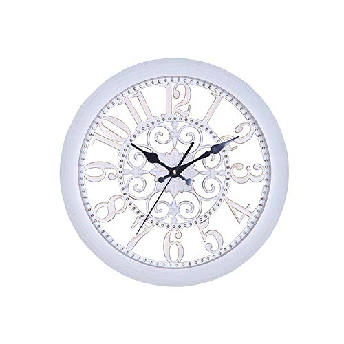Price comparison product image DDF European Furniture Living Room Bedroom Vintage Wall Clock (Color : White)