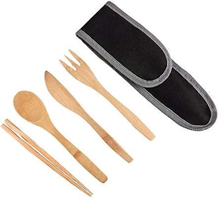 Amazon.com: Yu2d - Juego de utensilios de viaje de bambú con ...