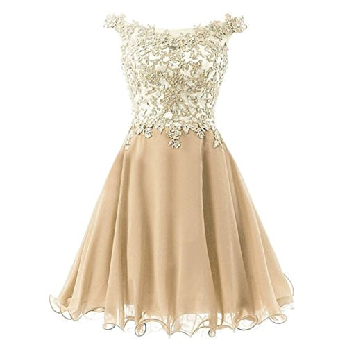 Gowns Off Prom Champange Bridal Short Drasawee Dress Shoulder Evening Sweet Women's q5Wwaz