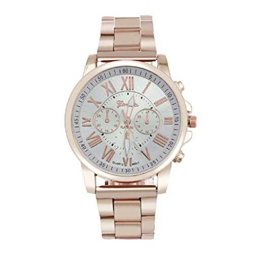 Ladies Quartz Watch, Hosamtel Geneva Roman Number Stainless Steel Analog Wrist Watch (White)