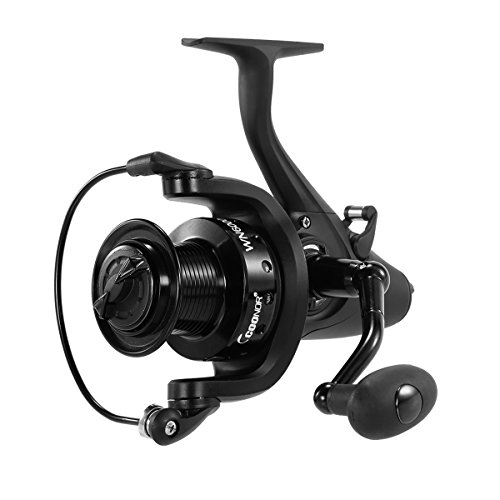Spinning Carp Fishing Reel 11+1BB Metal Spool Bait Runner Reels Gear Ratio 5.1:1 Series 5000 6000 (Black, Beast6000)
