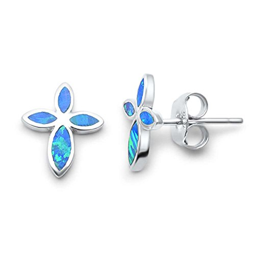 Cross Earrings Cross Shape Stud Earring 925 Sterling Silver Lab Created Blue Opal