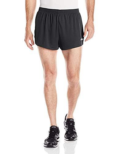 ASICS Men's Break Through 1/2 Split Short, Black/White, Large (Black White Shorts And Split)