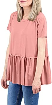 For G and PL Women Summer Causal Ruffle Flare Swing Top T Shirt
