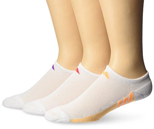 Gold No Show Socks (adidas Women's Superlite No Show Socks (3 Pack), White/Shock Purple/Easy Coral/Solar Gold, Medium)