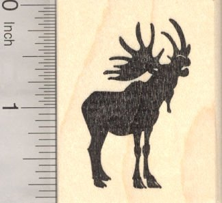 Bull Moose Silhouette Rubber Stamp, Mating - Call Mating Moose