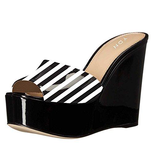 YDN Women High Heels Platform Mules Peep Toe Clogs Slip On Wedge Sandals Slide Shoes Black Stripe (Strictly Stripes)