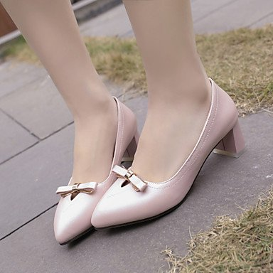 Talones de las mujeres Primavera Verano Otoño Invierno Club de los zapatos de la PU de oficina y carrera del partido y vestido de noche tacón grueso del Bowknot Rosa Blanco Azul Luz White