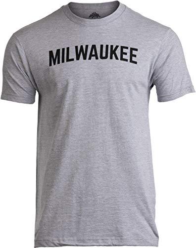 Milwaukee   Classic Retro City Grey Wisconsin Beer Brew Pride Men Women T-Shirt-(Adult,L)