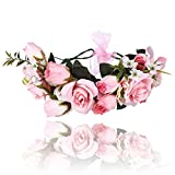 AWAYTR Women Flower Floral Crown-Bohemian Ribbon Adjust Party Wedding Accessorie (Pink)