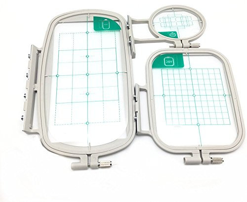 YEQIN 3 pcs Sewing Embroidery Machine Hoop Set Sewing Hoop For Brother Embroidery Machine SE270D, SE-350, SE-400, HE-120, HE-240, 500D, 900D, 950D, LB6800PRW etc (3 IN 1 SET)