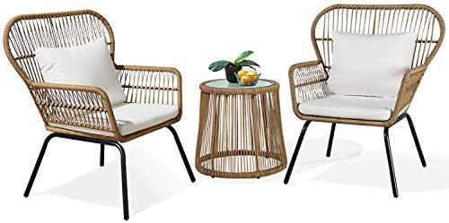 Ulax Furniture 3 Piece Outdoor Wicker Set Patio Furniture Conversation Bistro Set