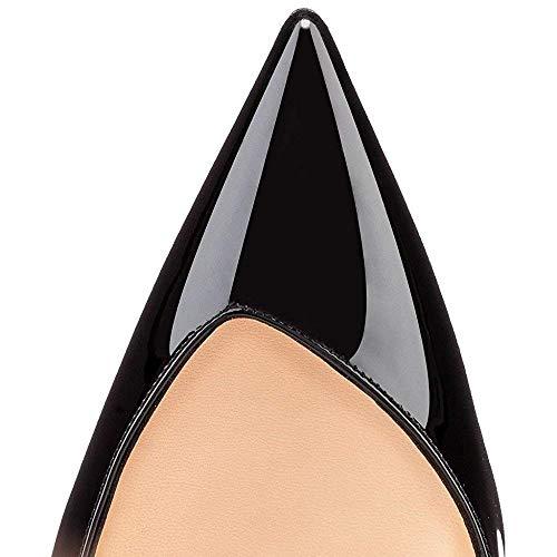 Talons Chaussures Noir Femmes Défaut Semelle Rouge Nu Hauts Bout à Talon Pompes pointuSlingback à Pan par 10cm Aiguille Caitlin nzfBYq6w6