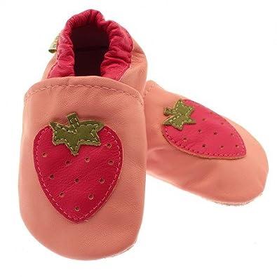 5da3e43b566 bebeotop Chaussons Cuir Souple Fille Fraise  Amazon.fr  Chaussures ...