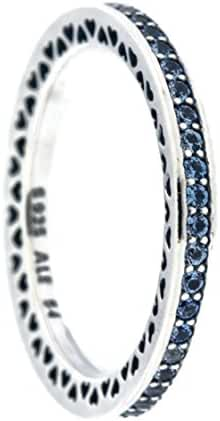 Radiant Hearts of PANDORA Ring, Air Blue Enamel & Sky Blue Synthetic Spinel 191011SSS-56 EU, 7.5 US