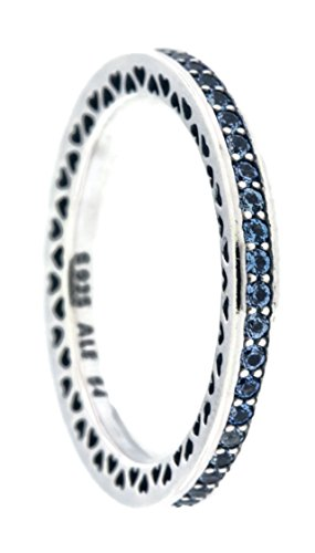 Radiant Hearts of PANDORA Ring, Air Blue Enamel & Sky Blue Synthetic Spinel 191011SSS-54 EU, 7 (Blue Enamel Ring)