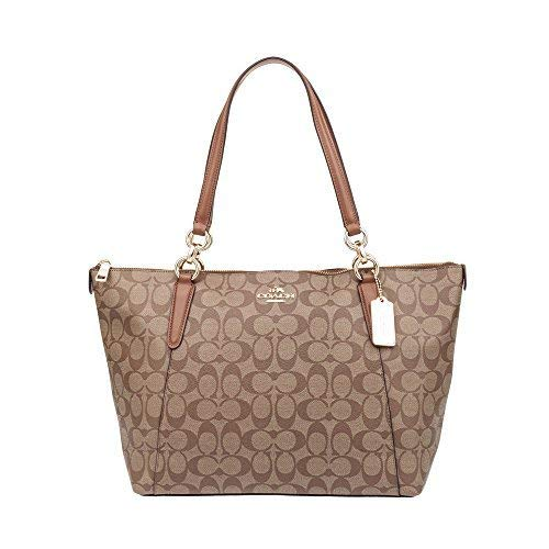 (Coach Ava Tote Bag In Signature Khaki Saddle)