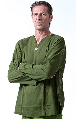 Men Renaissance Medieval Green Linen T Shirt V Neck Hippie Pirate Fisherman Beach Kurta Yoga (Large) ()