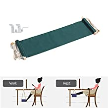DMcore Canvas Foot Rest Hammock, Adjustable Mini Foot Rest Stand Under Desk for Home and Office-Green