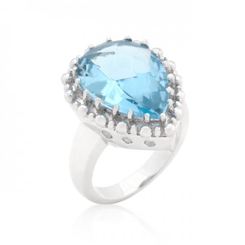 Icon Bijoux R08287R-S31-08 Solitaire Blue Topaz Cocktail Ring (Size: 08) from Icon Bijoux