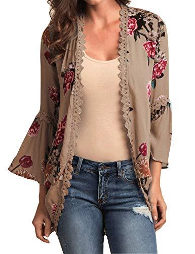 Relipop Women's Sheer Chiffon Blouse Loose Tops Kimono Floral Print Cardigan ()