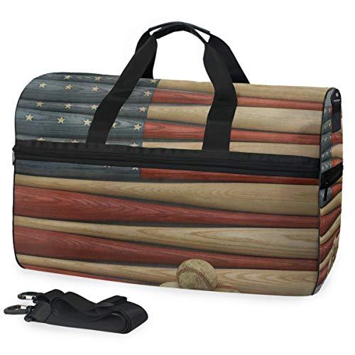 Training Baseball Womens Fitted (SLHFPX Gym Bag Baseball Bat American Flag Sport Duffle Holdall Bag Training Handbag Yoga Bag for Men Women)