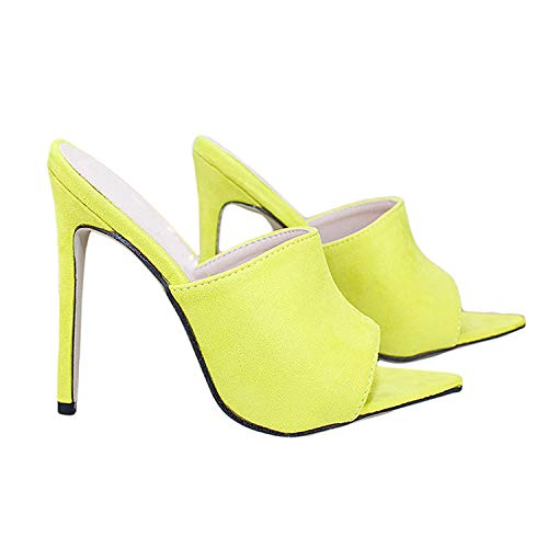2019 European Station Sandals Candy Color Luxury Rabbit Fur High Heel Sandals Slippers Large Women Shoes Size 35-43,Lemon Superfiber,6