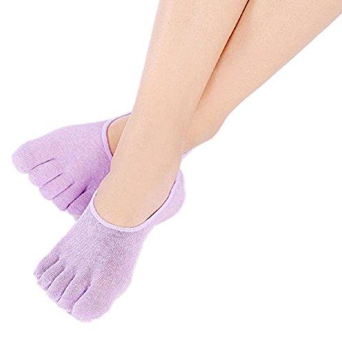 Yoga Socks,Vovotrade Womens 5-Toe Colorful Yoga Gym Non Slip Soft Ventilation Massage Toe Socks (Purple-B)