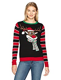 Ugly Christmas Sweater Womens Reindeer W/Back Embroidery Detail Sweater
