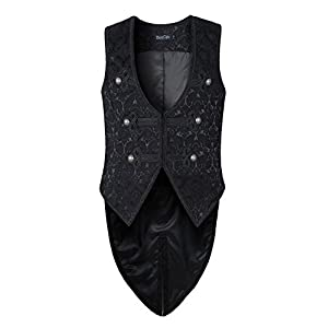 Mens Vest Waistcoat Tailcoat Black Damask Gothic Steampunk Victorian