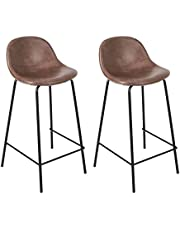 CangLong Faux Leather Back and Footrest Modern Counter Stool Chair Height for Pub Coffee Home Dinning Kitchen, Set of 2, Light Brown