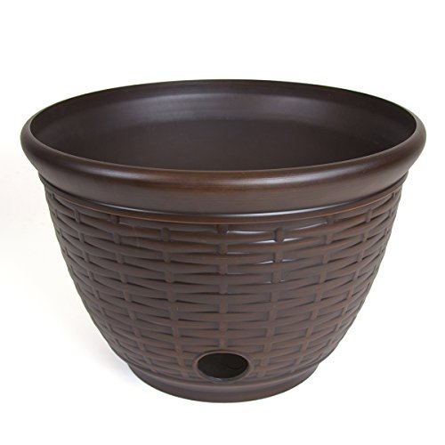 Liberty Garden 1920 High Density Resin Wicker Design Garden Hose Pot, Bronze