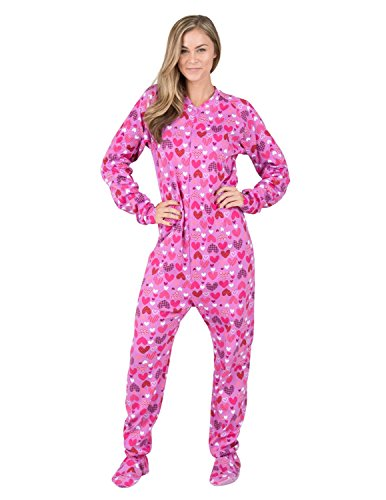 Footed Pajamas - Countless Hearts Adult Cotton Onesie