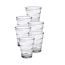 Duralex Made in France Spiral Glass Tumbler Drinking Glasses, 10.63 ounce – Set of 6, Clear