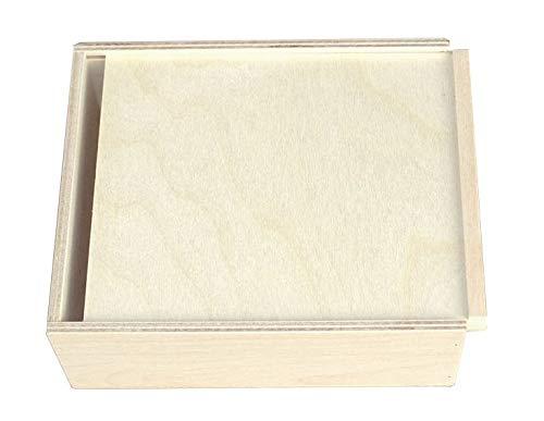 KF-Holzkiste - Cassetta in Legno a Scorrimento, 180 x 150 x 60 mm
