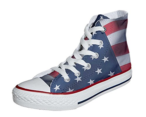 Converse All Star Customized - zapatos personalizados (Producto Artesano) con la bandera americana (USA)