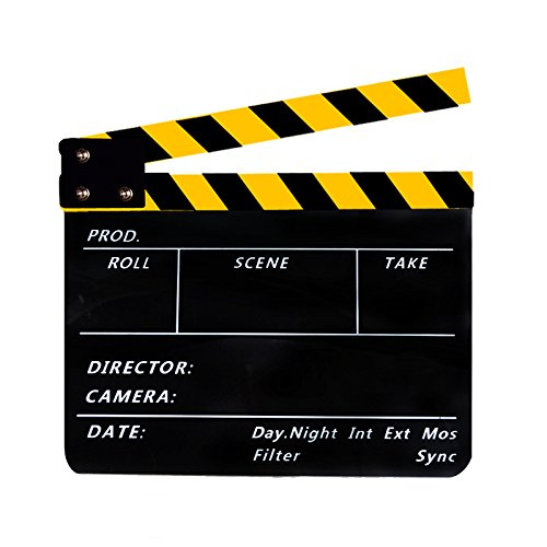 Acrylic Clapboard Dry Erase Director Film Movie Cut/Action Clapper Board Slate with Yellow/Black Sticks 9.6 * 11.7'' by Coolbuy112