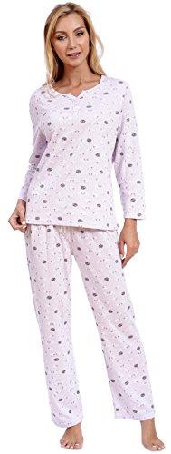 Set Cotton Knit - Patricia Women's Pajama Set Long Sleeve Soft Knit 2PC Sleepwear (L, Orchid Pink Sheep Pointelle)