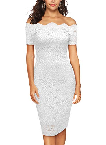 Women's Off Shoulder Short Sleeve Bodycon Floral Lace Slim Cocktail Party Wedding Dress Cocktail Pencil Dress (DM167-White Short, S)