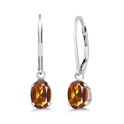 Gem Stone King 1.40 Ct Oval Orange Red Madeira Citrine 925 Sterling Silver Earrings ()