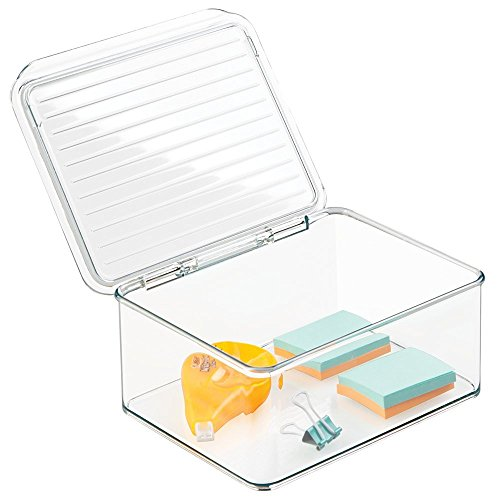 """mDesign Office Supplies Desk Organizer Box with Lid for Staplers, Scissors, Pens, Sticky Notes, Highlighters, Tape - 3"""" Tall, Small, Clear"""
