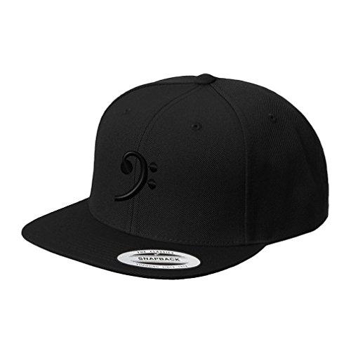 Black Bass Clef Black Embroidered Flat Visor Snapback Hat Black ()